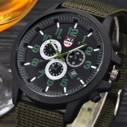 Hot Sale!Mens Date Stainless Steel Military Sports Analog Quartz Army Wrist Watch - intl