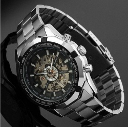 Hot Sale!Skeleton Automatic Watches For Men Silver Stainless Steel Wrist Watch - intl