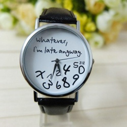 Hot Women Leather Watch Whatever I am Late Anyway Letter Watches Black - intl