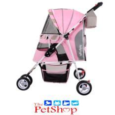 Ibiyaya Pet Car Foldable Stroller Trolley Cat Pushing Pet Dog Trolley Car  Sugar Pink
