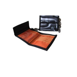 ILLUSTRAZIO Durashield Fashion Wallet Bag (Black/Orange)