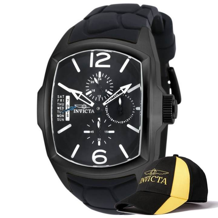 Invicta Lupah Men 46.8mm Case Black Silicone Strap Black Dial Quartz Watch 18902 w/ Cap - intl