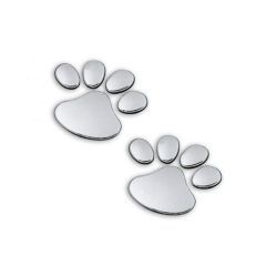 Jetting Buy Pet Paw Footprints Emblem Car 3D Sticker Decal Silver