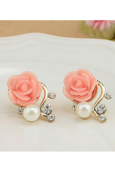 Jetting Buy Women Stud Earrings Pearl Diamond Rose Shaped Pink