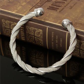 Jewelry Fashion Twist Solid 925 Silver Men/women Bangle Bracelet Christmas Gift-Intl