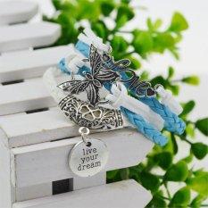 Jiayiqi Charm Leather Bangles Silver Bracelets for Women Men