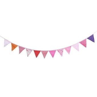 Jo.In Flags Fabric Bunting Pennant Flags Party Decoration Banner Christmas Party Supplies Events Wedding Decoration (Red)