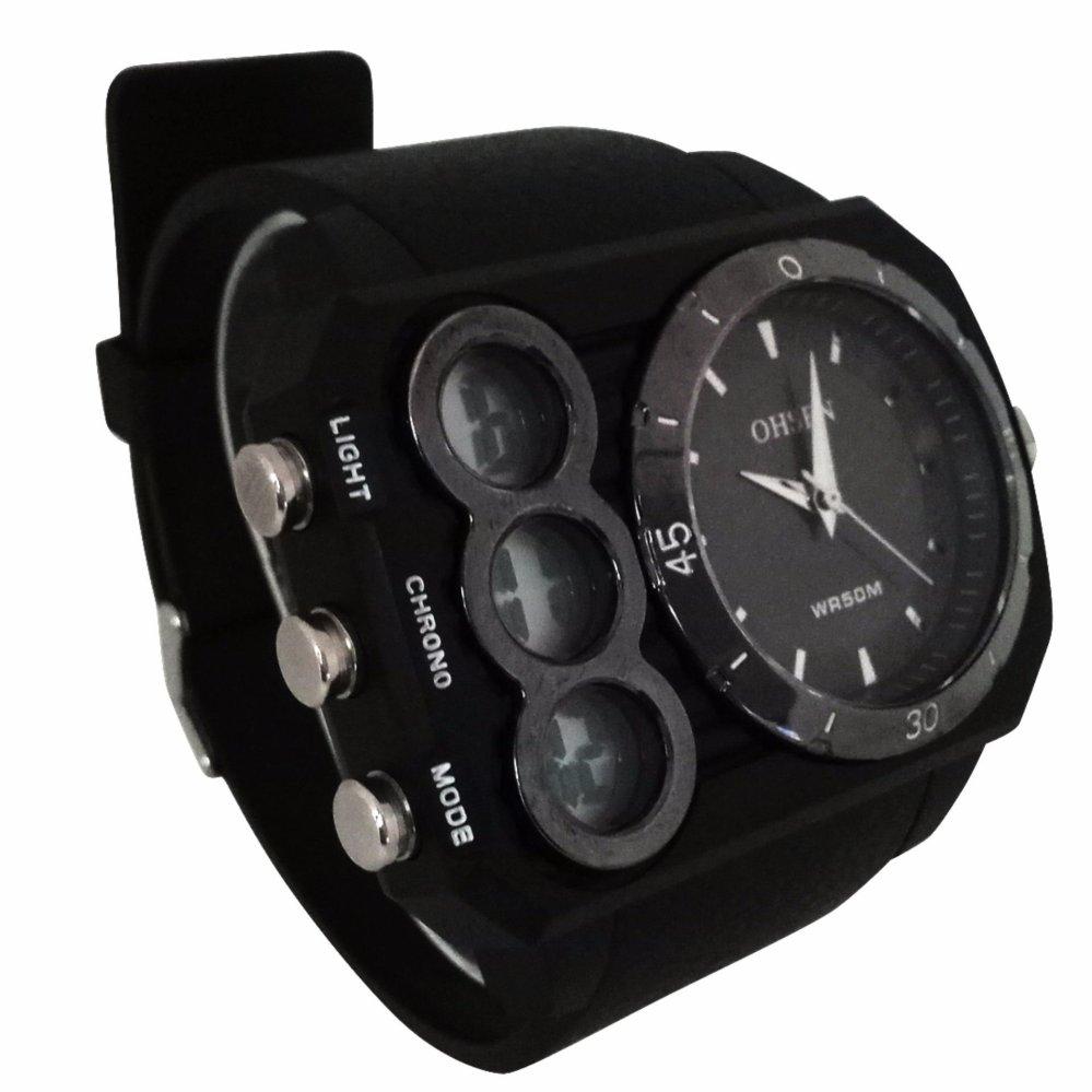 Korean calendar time watch quartz (black)