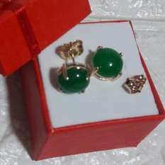 Korean Charm Green Jade Rose Gold Earring For Good Luck Hypoallergenic With Jewelry Case