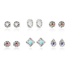 Kuhong 6 Pair Fashion Rhinestone Crystal Earrings Set Women Ear Stud Jewelry Gift - intl