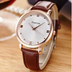 Ladies Fashion Quartz Watch Women Rhinestone Leather Casual Dress Women Watch - intl