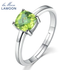 8c2551fc4 LAMOON S925 Sterling Silver Simple Engagement Ring Jewelry 6mm Natural  Square Cut Peridot For Women LMRI037