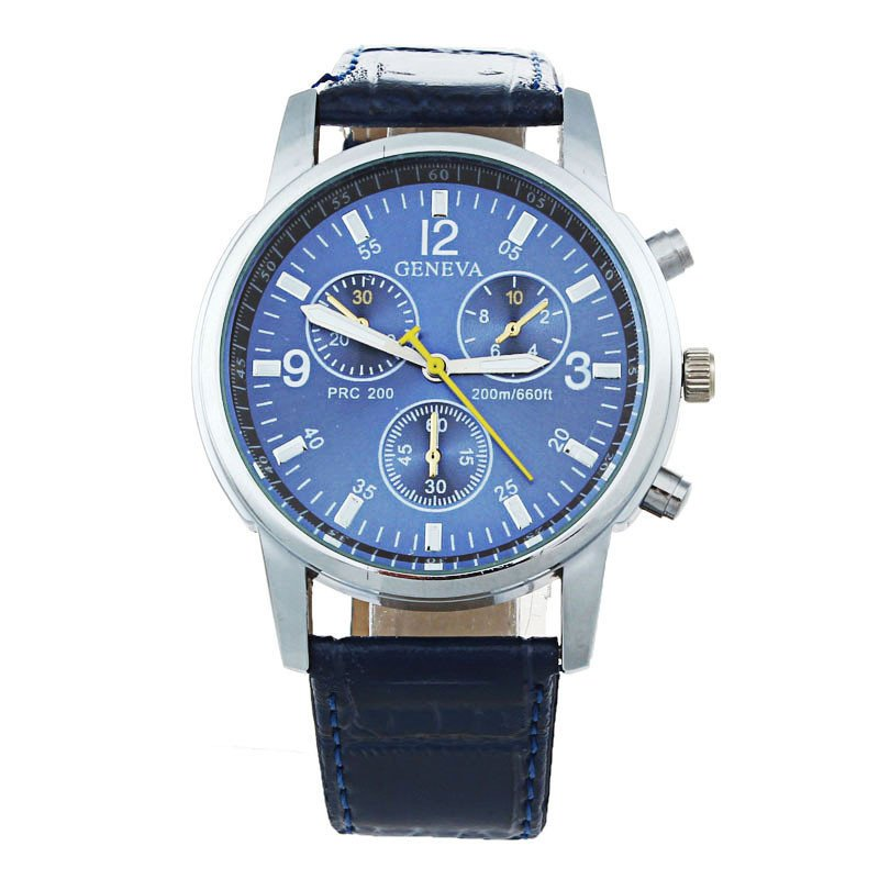 Leather Band Analog Dial Quartz Wrist Watch (Blue)