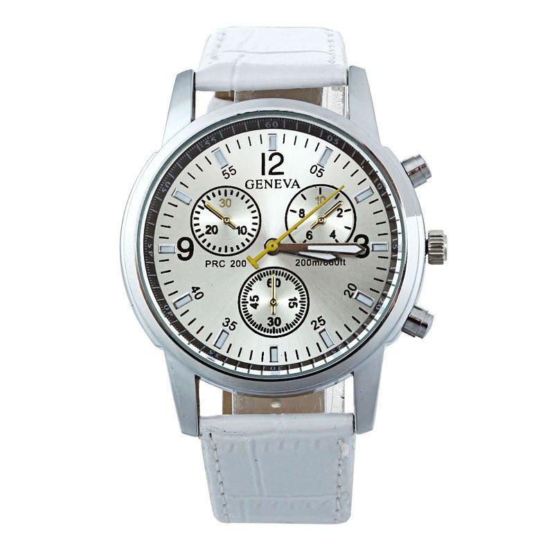Leather Band Analog Dial Quartz Wrist Watch (White)