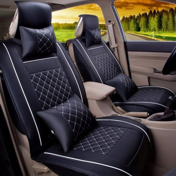 Leather Seat Cushoin Covers,Front Rear Full Set for 5 Seats Car Black and White Size M - intl