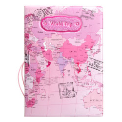 Leather World Map Passport Holder Organizer Travel Card Case Document Cover HOT Pink