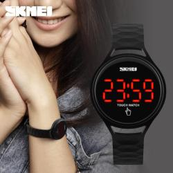 SKMEI 1230 Women Watches Touch Screen LED Display PU Strap Fashion Casual Woman's Watch 30m Waterproof  Digital Wristwatches Free Gift Box