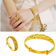 LIFEART Lady s' Wedding Jewelry Premium 24K Gold Woman Handcraft Adjustable Bangle & Ring set