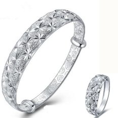 LIFEART Lady s' Wedding Jewelry Premium Silver Plated Woman Handcraft Adjustable Bangle & Ring set