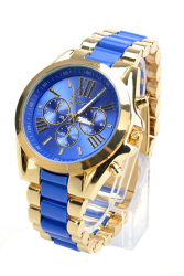 Linemart Geneva Men's Blue Stainless Steel Strap Watch