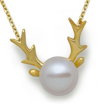 Little Deer Natural Half RoundPearl 925 Sterling Silver Christmas Necklace - intl