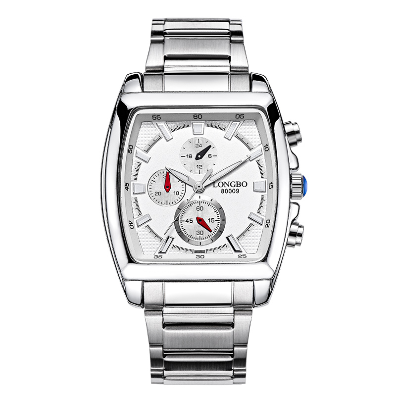 LONGBO 80009 Fashion Stainless Steel Starp Sport Miliatry Quartz Watch For Men - White - thumbnail