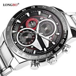 LONGBO Analog Quartz Waterproof Business Sport Stainless Steel Band Wrist Watch 30M Water Resistant - 80131 - intl
