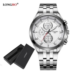 LONGBO Man Fashion Stainless Steel Strap Sport Business Quartz Watch For Men 8650 + Watch Gift Box - intl
