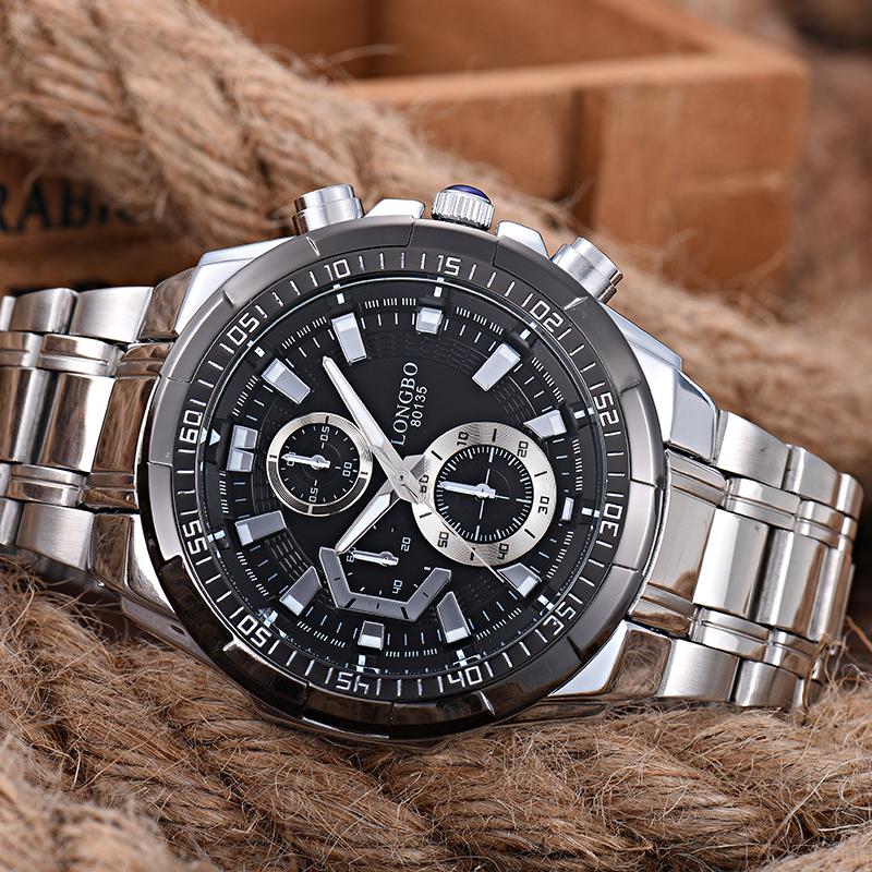LONGBO Men's Military Stainless Steel Waterproof Quartz Wristwatch Watch (Black)