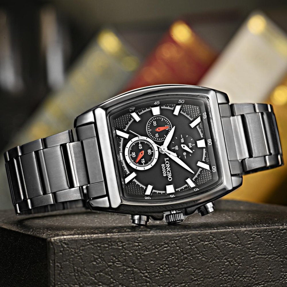 LONGBO Stainless Steel Strap Squar Business Quartz Watch For Man's Fashion 80009 - intl