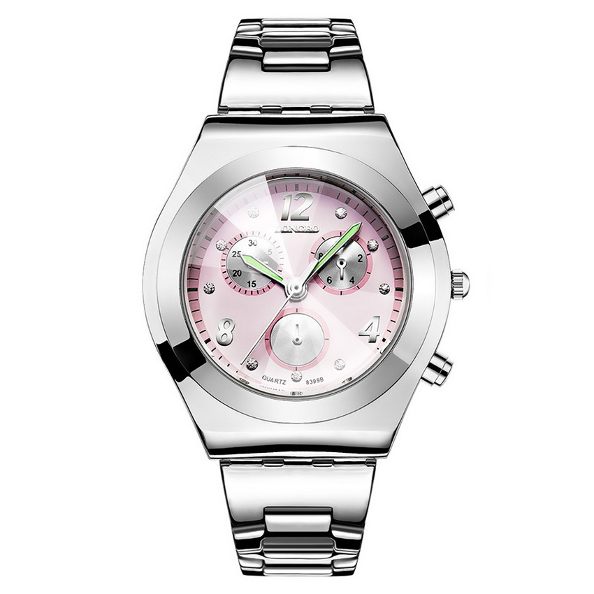 LONGBO Women Waterproof Quartz Stainless Steel Wrist Watch (Pink)
