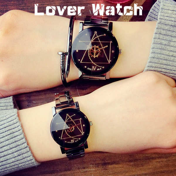 'Lovers'' Fashion Compass Gear Dial Steel 2 Watches(Color:Black)' product preview, discount at cheapest price