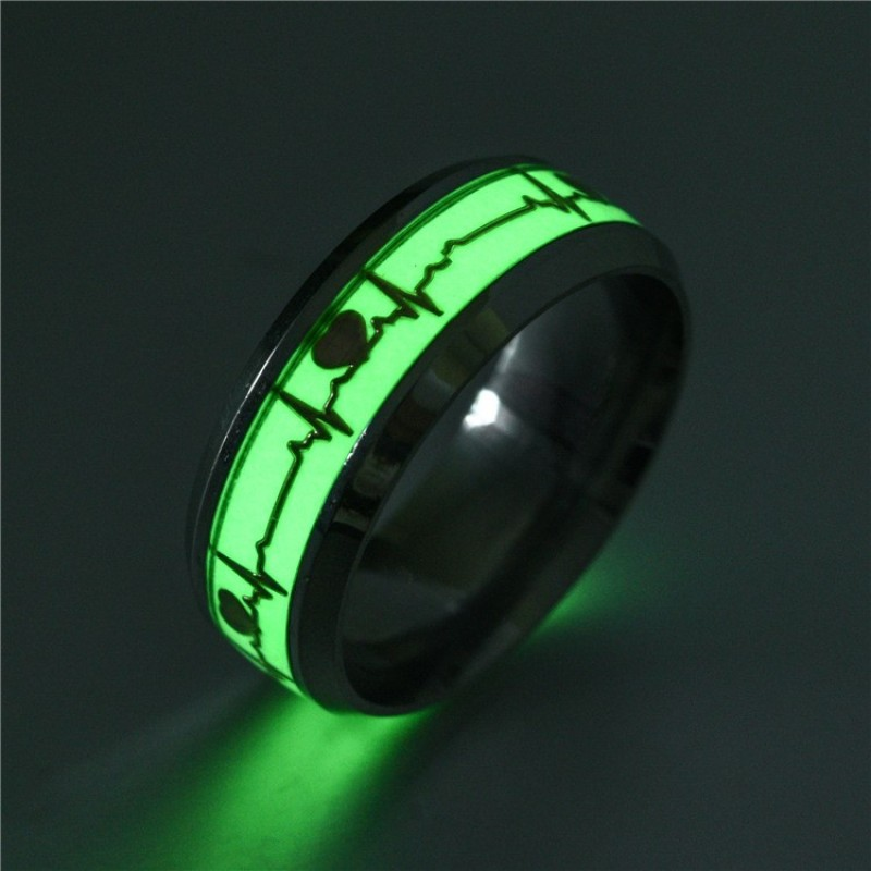 377eabcd2f8c O-New Luminous Ring Lines Pattern Fluoresce Round Ring for Men Women Party  Prom Personality