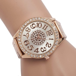 Free shipping Luxury Diamond Stainless Steel Sport Quartz Wrist Hour Dial Watch Rose Gold - intl