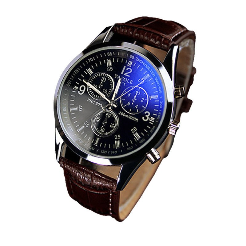 Luxury Fashion Faux Leather Mens Blue Ray Glass Quartz Analog Watches Brown