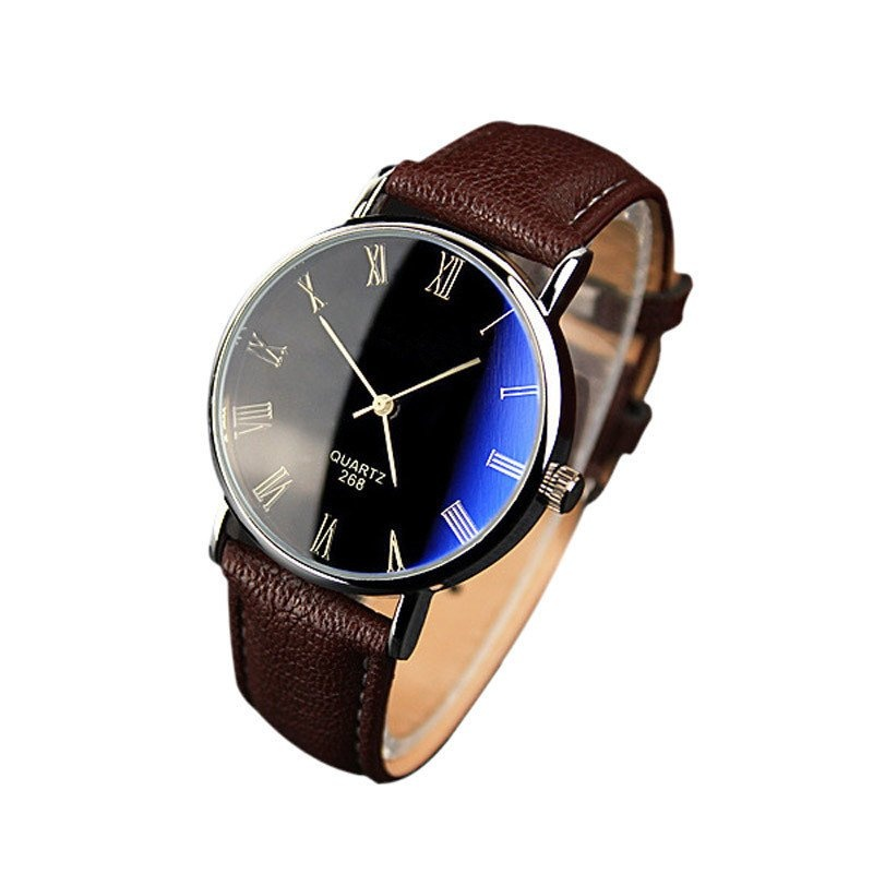 Luxury Fashion Faux Leather Mens Quartz Analog Watch Watches Brown