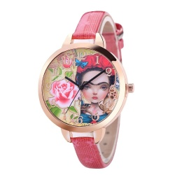 Luxury Fashion Leather Band Analog Quartz Round Wrist Watches Hot Pink - intl