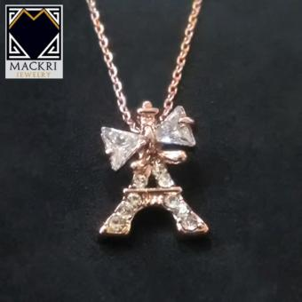 MACKRI Classic Gold Chain Necklace with Crystal Encrusted Ribbon Eiffel Tower Pendant NXH15169 - picture 2