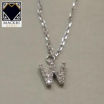 MACKRI Classic Silver Rolo Chain Necklace with Crystal Encrusted Letter W Pendant