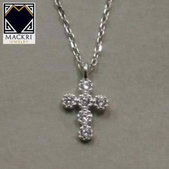 MACKRI Silver Chain Necklace with Mini Crystal Illumina Cross Pendant