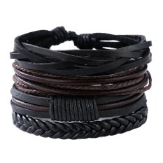 Man European Hot Retro Multilevel Cowhide Handmade Woven Bracelet Intl