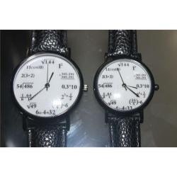Math Lover Couple Leatherette Strap Watch (Black)
