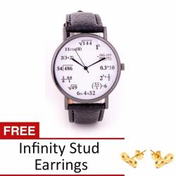 Math Lover Faux Leather Watch with Free Infinity Stud Earrings