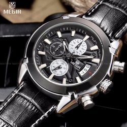 Megir Men's Working Chronograph Subdial and Calendar 3D Etched Crocodile Style Genuine Leather Strap Watch