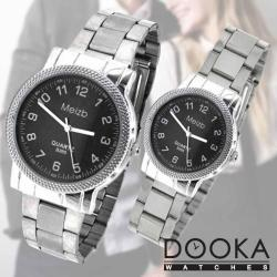 Meizb Couple Stainless Steel Strap Watch Bundle B203 (Black)