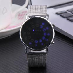 Men Fashion Hot Sale Binary Full Steel LED Digital Watches - intl