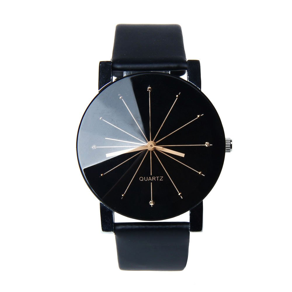 Men Quartz Dial Clock Leather Wrist Watch Black product preview, discount at cheapest price