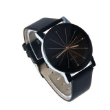 Men Quartz Dial Clock Leather Wrist Watch Black - thumbnail 1