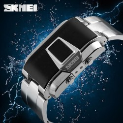 Men Sport Watch SKMEI 1179 Brand 50M Waterproof Swimming Watches Fashion LED Display Alloy Band Black Wristwatches - intl