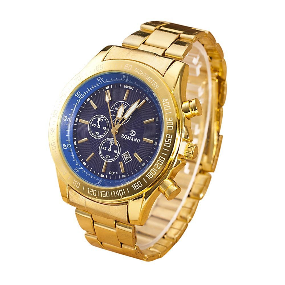 Men Stainless Steel Watch Analog Quartz Movement Wrist Watches Blue product preview, discount at cheapest price